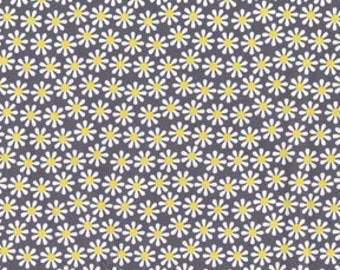 Citron and Gray Daisy Flowers Citron for Michael Miller, 1 yard