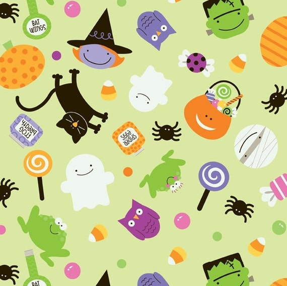 Trick or Treat Green Main by Doodlebug Designs, inc. for Riley Blake, 1/2 yard
