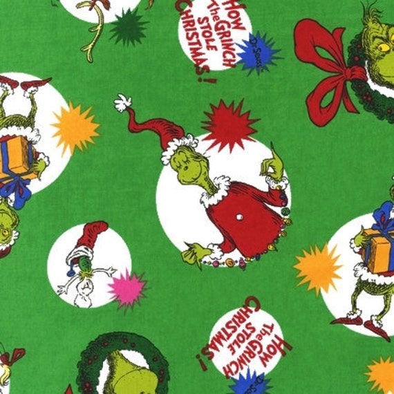 "How the Grinch Stole Xmas Holiday Circles, Robert Kaufman, 12"" remnant"