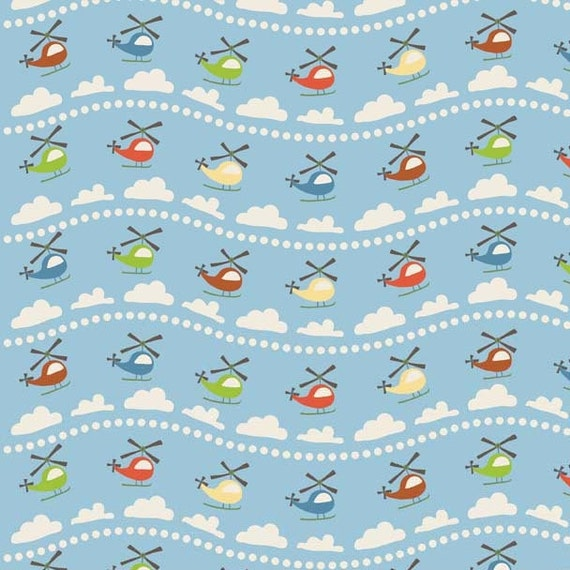 Scoot Blue Scoot Helicopter by Deena Rutter for Riley Blake, 1/2 yard