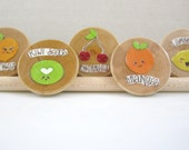 FREE United States Shipping, Fruity Friends, LARGE Wooden Circle Magnets, Set of 5, Round Wooden Magnets, Neodymium Magnets