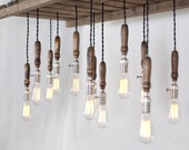 Wood Pallet Chandelier - 12 Bulb - TypewriterBoneyard
