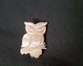 Shell Carved Owl Brooch