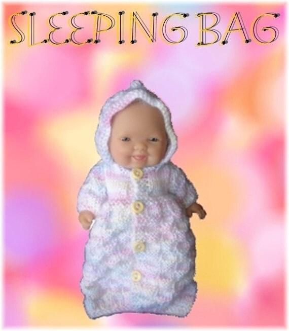 Knitting Pattern For Dolls Sleeping Bag : Sleeping bag PDF Knitting pattern to fit 5in. by MiniNursery
