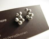 titanium post earrings silver cluster