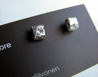 Rough silver square pebbles titanium post earrings