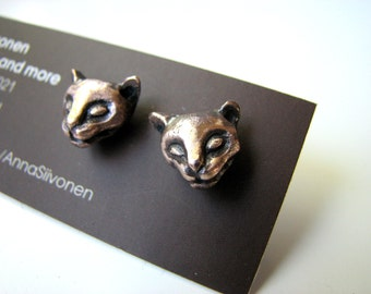 Cat earrings bronze & surgical steel posts
