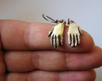 Frida Kahlo hands milagro earrings bronze titanium earwires