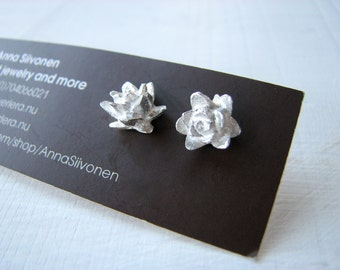 Titanium earrings silver lotus