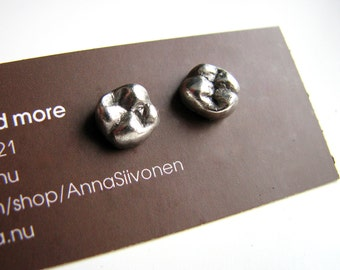 Human tooth earrings titanium or niobium posts