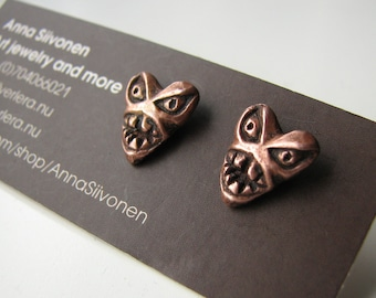 Monster heart studs copper & surgical steel posts