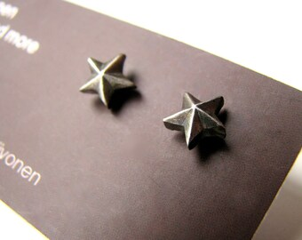 Silver star earrings niobium posts