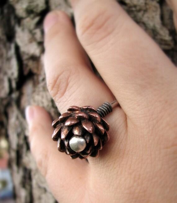 Pink lotus adjustable silver ring OOAK