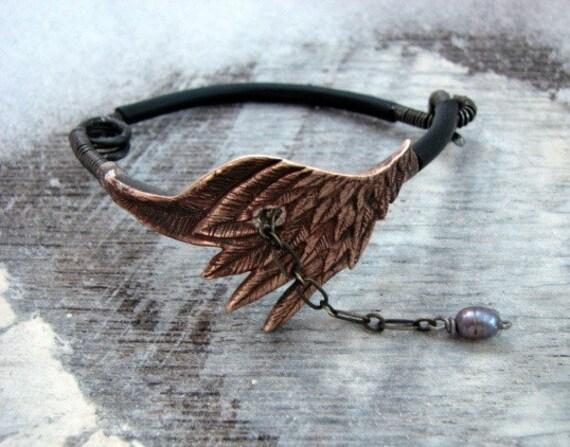 Sale steampunk wing bracelet bronze sculpture