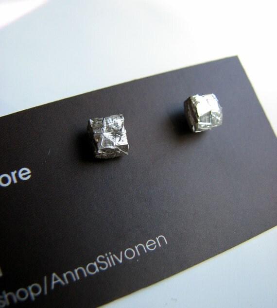 Rough silver square pebbles titanium post earrings