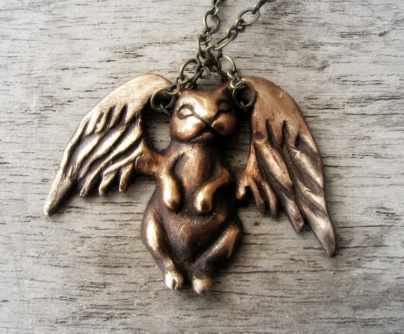 Fairy tale jewelry winged animal rabbit sculpture
