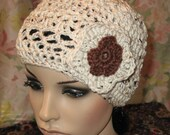 Beanie/Slouchy Hat with flowers crocheted in Oatmeal