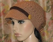 Paperboy Hat with Brim crocheted in Camel yarn.