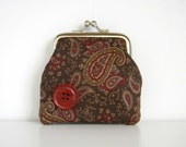 Coin Purse Kiss Lock Framed Paisley Burgundy Floral