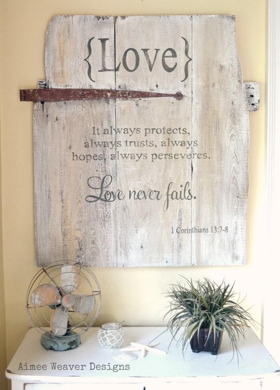 Handpainted wood barn door sign with love verse