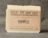 Simple Soap - All Natural Soap, Handmade Soap, Fragrance Free Soap, Vegan Soap, Sensitive Skin Soap