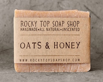 Oats & Honey Soap - All Natural Soap, Handmade Soap, Cold Process Soap, Unscented Soap, Mens Soap, Mens Skincare, Exfoliating Soap
