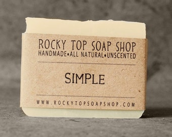Simple Soap - All Natural Soap, Handmade Soap, Fragrance Free Soap, Vegan Soap, Sensitive Skin Soap
