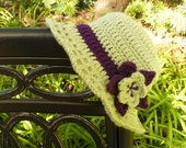 Frosty Green Crocheted Sunroof Sun Hat