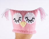 Pink Sleeping Owl Hat for Newborn