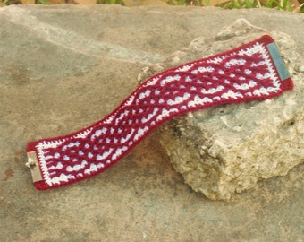 Red and White Celtic  Bracelet Cuff