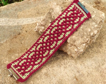 Dark Red and Olive Green Crocheted Celtic Cuff Bracelet