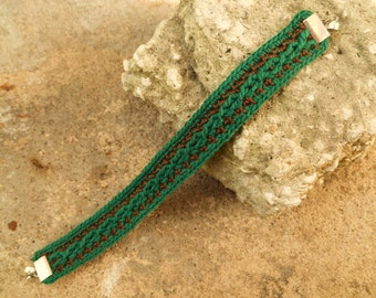 Forest Green and Brown Crocheted Cable Bracelet