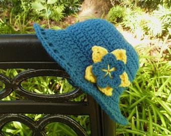 Ocean Blue Crocheted Sunroof Sun Hat