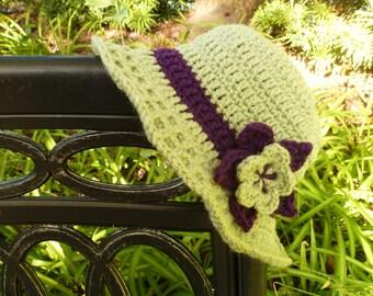 Frosty Green Crocheted Sunroof Sun Hat