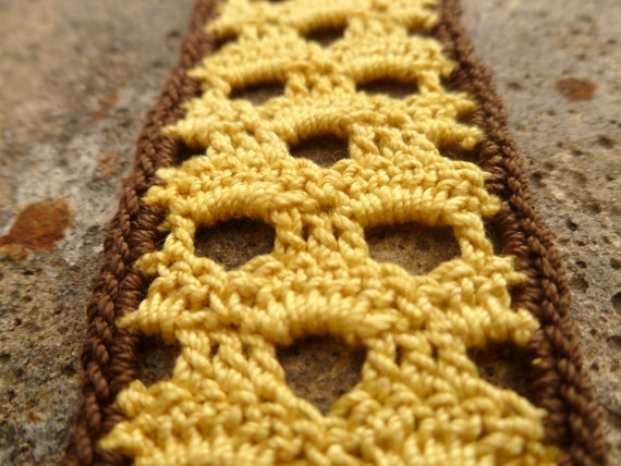 Yellow and Brown Crocheted Honeycomb Bookmark