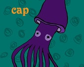 purple squid illustration art magnet - stupid dunce cap - by chewytulip
