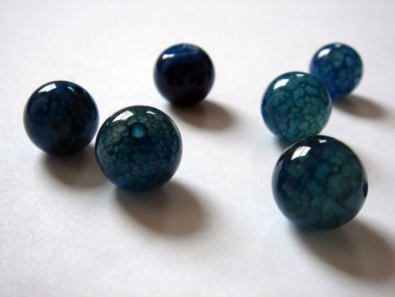 Real Ocean Blue Stone Beads- Set of 8