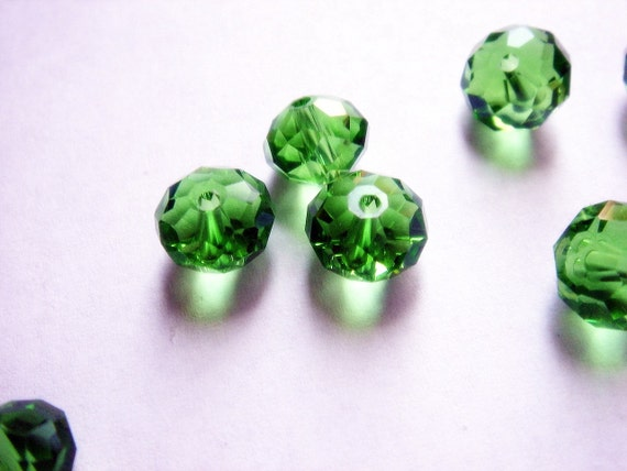 Grass is Much Greener Czech Glass Faceted Rondelle Beads 7mm Set of 40