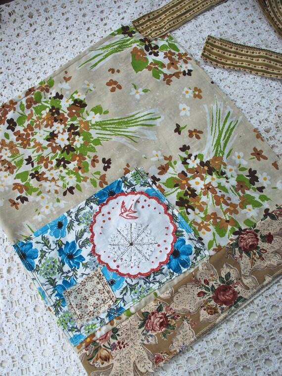 RESERVED FOR KATHY  vintage garden wrap apron - Gertrude's laughter