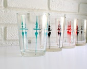 4 Vintage Arrow Glasses