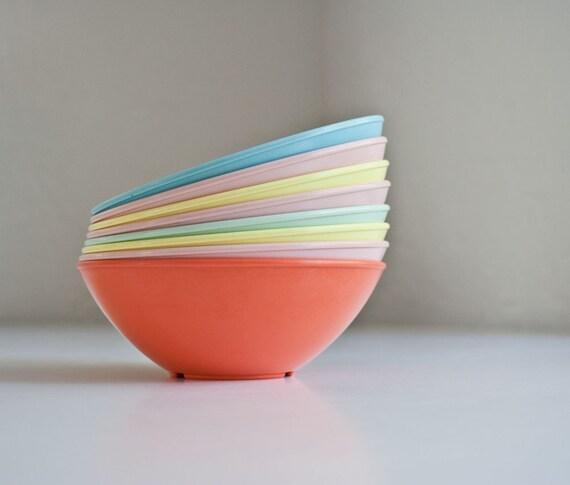 Mid Century Pastel Melamine Bowls
