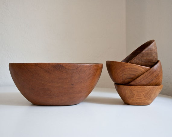 Danish Modern Teak Salad Bowl Set