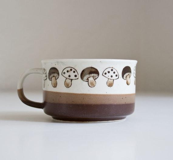 1970s Stoneware Mushroom Soup Mug
