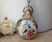 Black Friday Etsy Pocket watch necklace vintage style Birds in the cage gift for her under 30 handmade italian jewelry