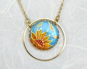 Sunflower necklace handpainted, turquoise jewelry, spring jewelry, wedding jewelry, bridesmaid jewelry, floral jewelry
