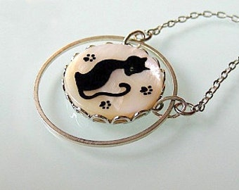 Black Cat necklace handpainted, Cat Pendant, christmas sale jewelry, cat jewelry, cat lover gift, gift for pet lovers, black friday sale
