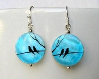 Birds earrings tiny bird earrings love birds earrings handpainted bird jewelry turquoise dangle earrings  simple everyday jewelry sale