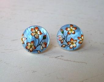 Flowers hand painted earrings studs, handpainted jewelry, flower jewelry, floral jewelry, artisan jewelry