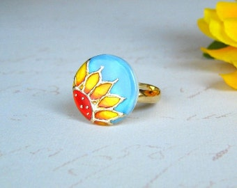 Sunflower ring painted by hand - coctail ring - artisan jewelry - flower jewelry