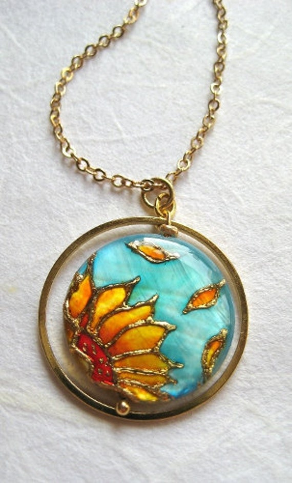 Sunflower Necklace Handpainted, sunflower pendant, sale jewelry sunflower,mothers day jewelry, mother day gift